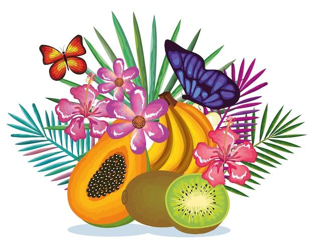 Tropischer garten mit papaya und kiwi