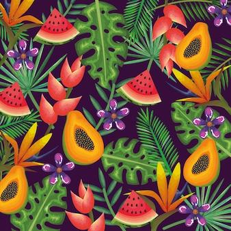 Tropischer garten mit papaya und wassermelone