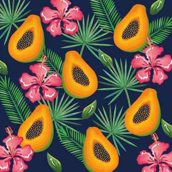Tropischer garten mit papaya