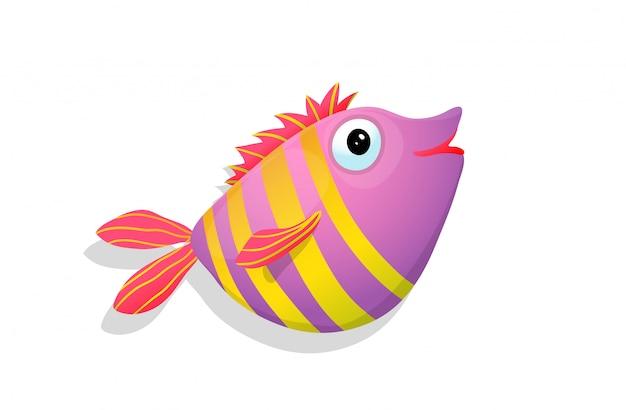 Tropischer glücklicher lächelnder fisch mit streifen rosa farbvektor-kinderkarikatur.