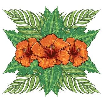 Tropischer handgezeichneter sommerblumen-hibiskus
