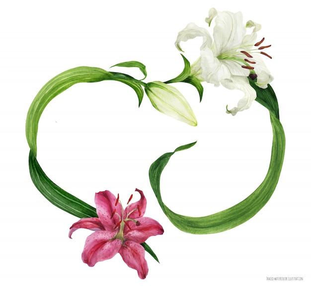 Tropischer herzkranz mit orientalischen lilien