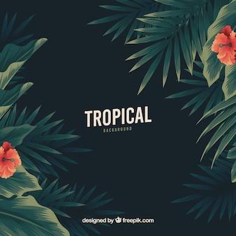 Tropischer hintergrund der weinlese mit flachem design