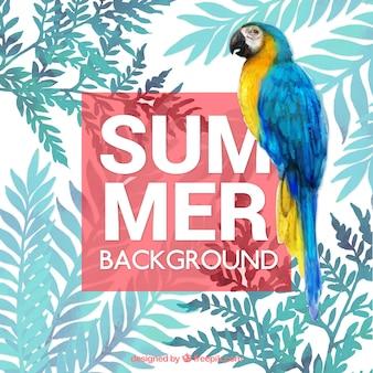 Tropischer hintergrund des sommers mit aquarellen