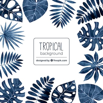 Tropischer hintergrund mit blättern in der aquarellart