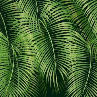 Tropischer hintergrund mit dschungelpflanzen. exotisches muster mit palmblättern.