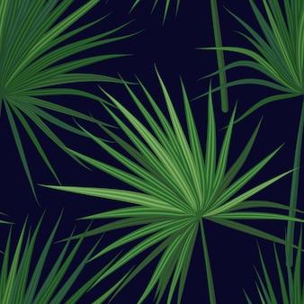 Tropischer hintergrund mit dschungelpflanzen. nahtloses tropisches muster mit grünen sabalpalmenblättern.