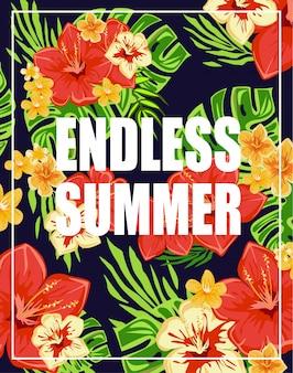 Tropischer hintergrund mit endloser sommer-beschriftung
