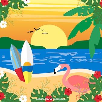 Tropischer hintergrund mit flamingo