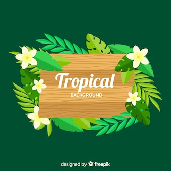 Tropischer hintergrund mit holzschild