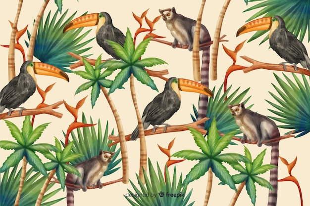 Tropischer hintergrund mit tieren