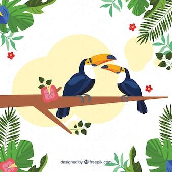 Tropischer hintergrund mit vögeln und pflanzen