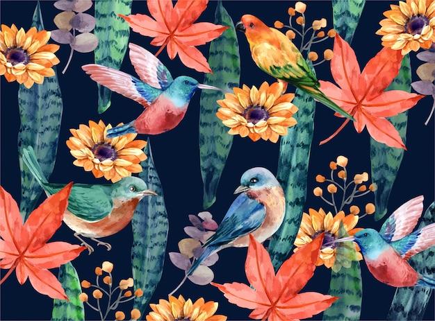 Tropischer hintergrund mit vogel