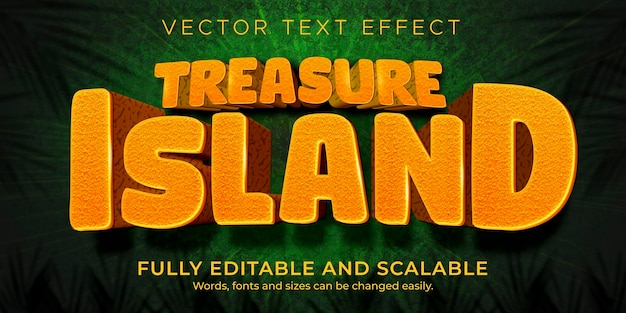 Tropischer inseltexteffekt; bearbeitbarer cartoon und lustiger textstil