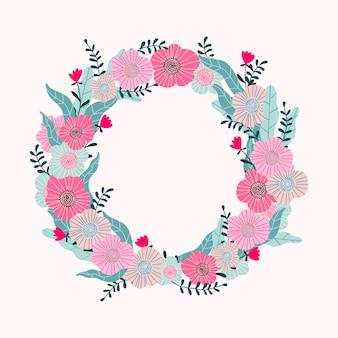 Tropischer kranz auf einem rosa