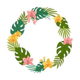 Tropischer kranz aus palmblättern, monstera-blättern und orchideenblüten