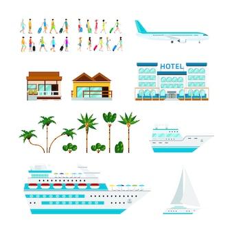 Tropischer kreuzfahrt-elementsatz