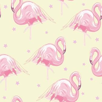 Tropischer musterhintergrund des schönen nahtlosen vektors mit flamingo und hibiscus
