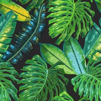 Tropischer nahtloser mit blumenmuster palmblatthintergrund