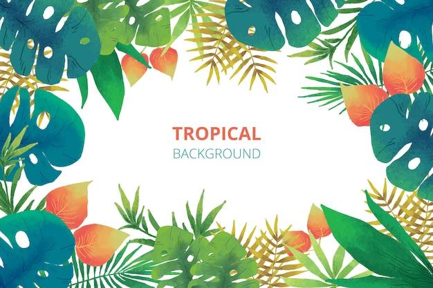 Tropischer naturhintergrund des aquarells