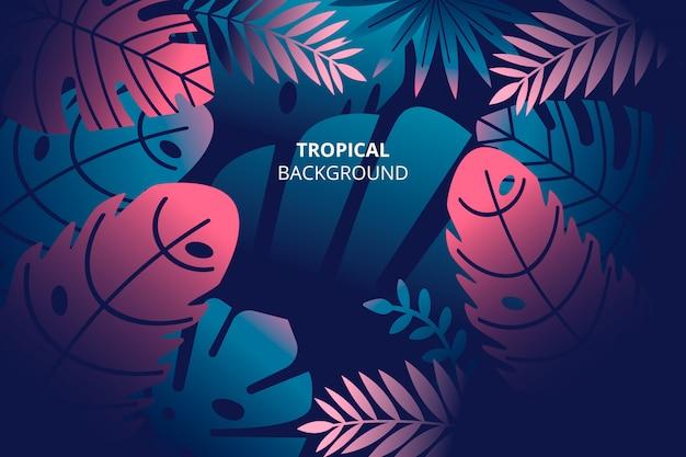 Tropischer naturhintergrund mit hand gezeichneten palmblättern