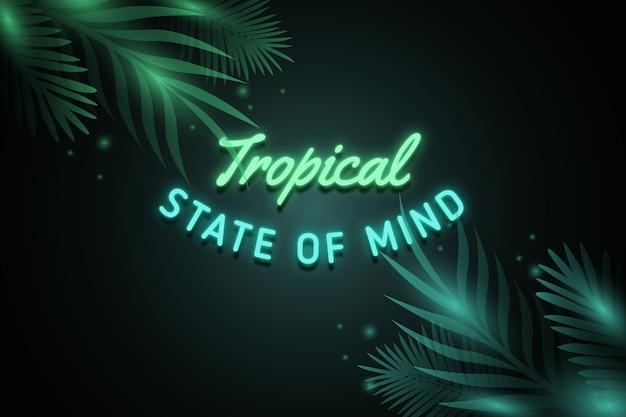 Tropischer neon-schriftzug mit blättern oder blüten
