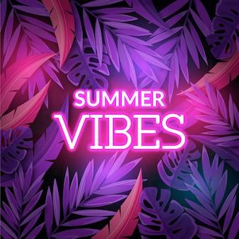Tropischer neon-schriftzug mit blättern und blüten