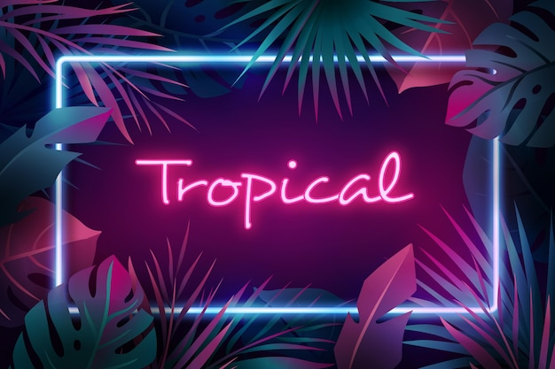 Tropischer neon-schriftzug mit blättern