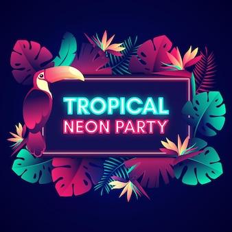 Tropischer neonparty-schriftzug mit blättern