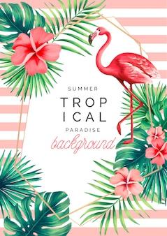 Tropischer paradies-hintergrund mit exotischer natur und flamingo