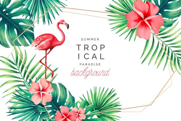 Tropischer paradies-hintergrund mit flamingo