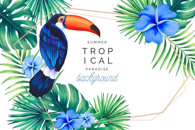 Tropischer paradies-hintergrund mit goldenem rahmen