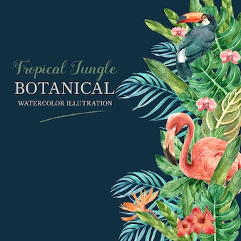 Tropischer rahmengrenzsommer mit dem exotischen pflanzenlaub, kreatives aquarell