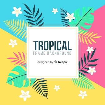 Tropischer rahmenhintergrund mit blumen