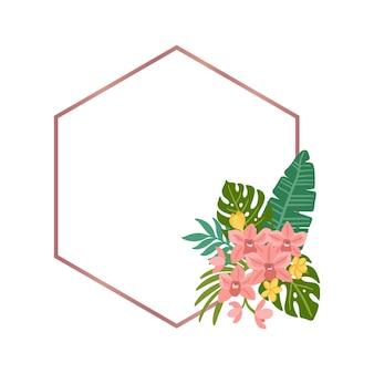 Tropischer rautenrahmen mit palmblättern monstera-blätter orchideen-plumeria-blumen