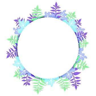 Tropischer runder rahmen mit palmblättern