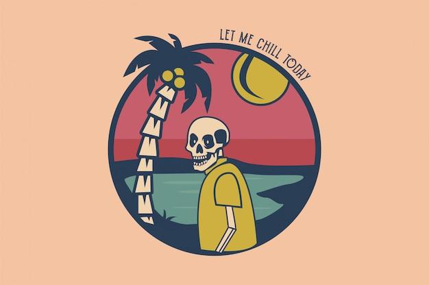 Tropischer schädel mit kokosnussbäumen vector illustration