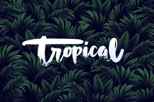 Tropischer schriftzug auf blatttapete