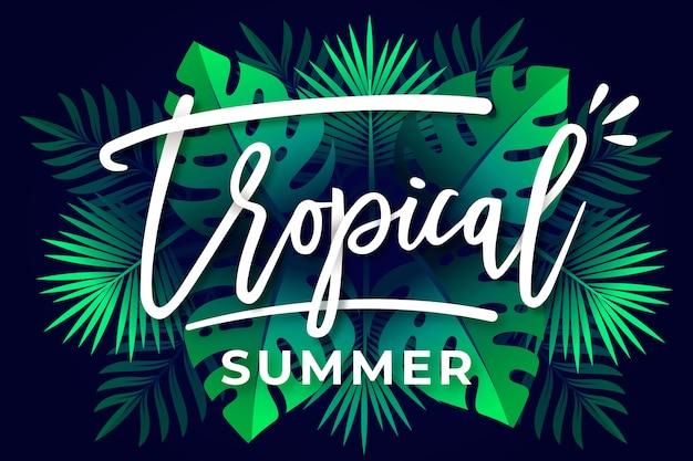 Tropischer schriftzug mit blättern oder blüten