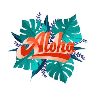 Tropischer schriftzug mit blättern und blüten