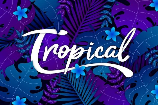 Tropischer schriftzug mit blättern und blüten Kostenlosen Vektoren