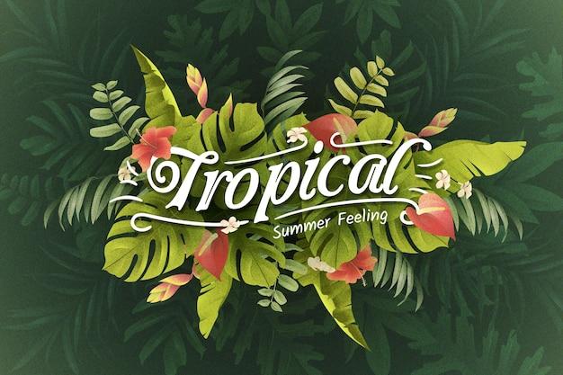 Tropischer schriftzug mit blättern