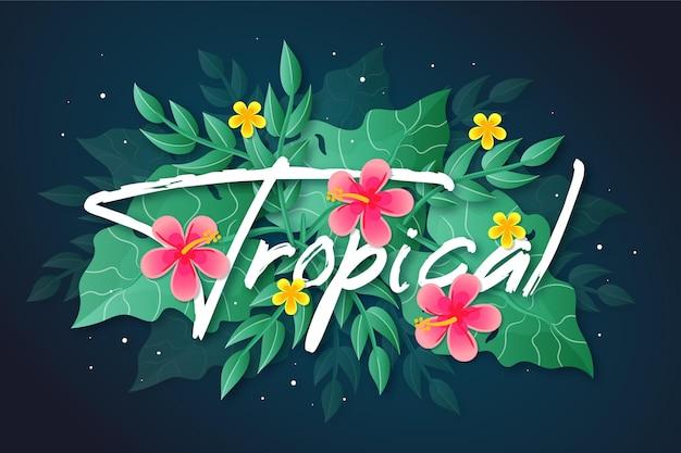 Tropischer schriftzug mit blumen