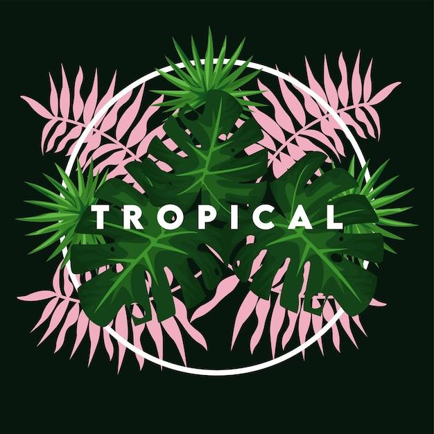 Tropischer schriftzug mit grünen und rosa blättern im kreisförmigen rahmen