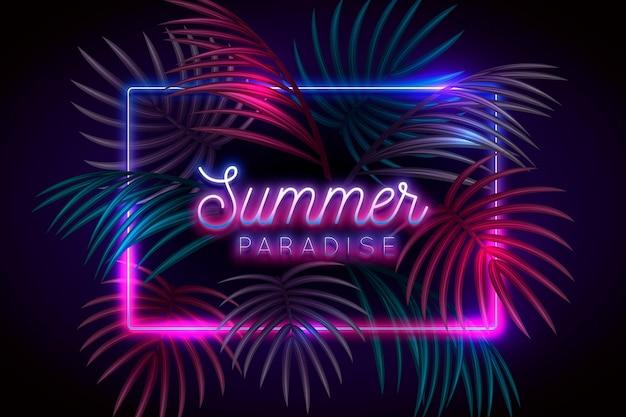 Tropischer schriftzug mit neonblättern