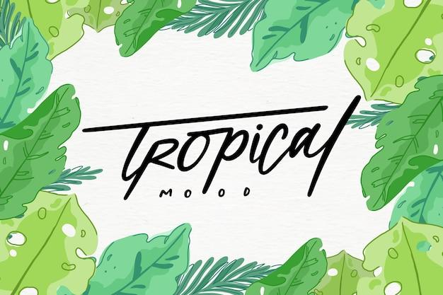 Tropischer schriftzug, umgeben von blättern