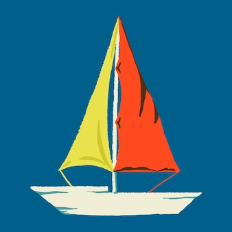 Tropischer segelbootaufkleber im sommerurlaubsthema
