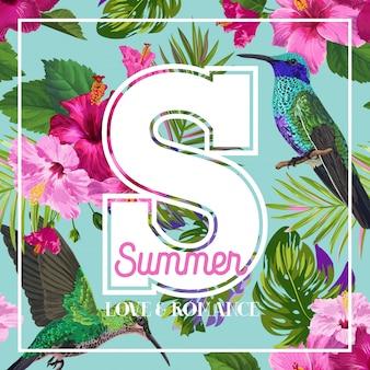 Tropischer sommer-blumenplakat