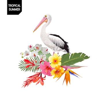 Tropischer sommer-entwurf mit pelikan-vogel und blumen