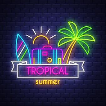 Tropischer sommer. leuchtreklame schriftzug